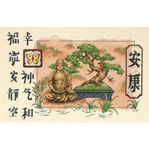 Stuff 4 Crafts - Patrón para cuadro de punto de cruz, 35,5 x 22,9 cm, diseño de Buda y bonsai