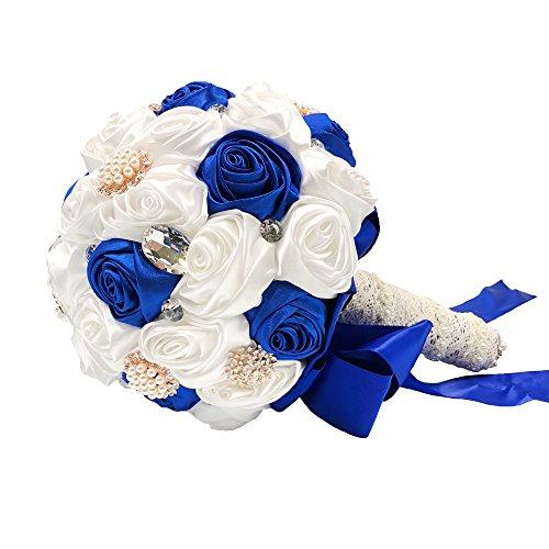 Bridal/Bridesmaids Brooch Bouquet Royal Blue Satin Roses with Crystal Diamond Pearl Decor-Royal Blue ()