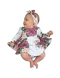 IEason 2PCs Toddler Kids Baby Girl Floral Print Dress+Headband Outfits Clothes Set