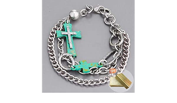 Antique Gold Chain Patina Cross Statement Religiously Inspired Bangle Bracelet Fashion Jewelry for Women Man