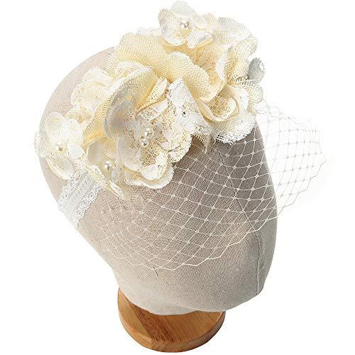 BEAMIO Lace Baby Headband Fascinators Pearl Flower Bows Veil Vintage Christening Headbands ()