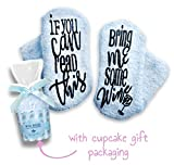 Passionette Fuzzy Wine Socks: If You Can Read This Bring Me A Glass Of Some Wine Novelty Socks - Gift Idea for Her - Valentine's Day with Cupcake Gift Packaging - Limited Edition (Blissful Blue)