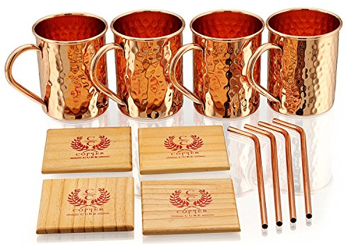 Copper Moscow Mule Mugs - Set of 4 - Highest Quality Gift Set – 100% HANDCRAFTED - Food Safe Pure Solid Copper Mugs 16 oz Hammered Moscow Mule Mug with BONUS:Copper Straws and Coasters by Copper Cure by Copper Cure (Image #2)