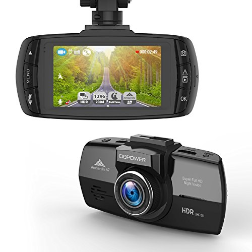DBPOWER 2K FHD DVR 2.7-Inch LCD 150 Degree Wide Angle Dash Cam with G-Sensor, Loop Recording, HDR, Night Vision and Supports Micro SD Card upto 64GB Image