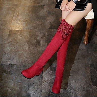 rosso carriera Calf scarponi CN36 Stivali amp; vera blu Scarpe Comfort Stivali Autunno Office UK4 cuneo EU36 pelle abito Mid a Inverno punta moda US6 tonda RTRY Tacco donna per agnTwqg1