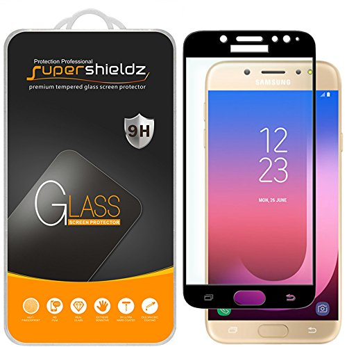 [2-Pack] Supershieldz for Samsung Galaxy J7 Pro (J730G Model Only) Tempered Glass Screen Protector, [Full Screen Coverage] Anti-Scratch, Bubble Free, Lifetime Replacement Warranty (Black)