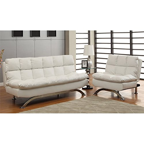 - Furniture of America Ethel Leatherette Convertible Sofa and Chair Set, White