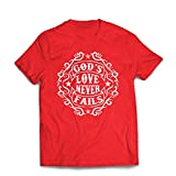 lepni.me T Shirts For Men Jesus Loves You - God's Love Never Fails - Christian Gift Ideas - Easter - Resurrection - Nativity, Religious Clothing (Large Red Multi Color)