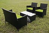Merax 4 PCS Cushioned Outdoor PE Wicker Patio Set Garden Lawn Rattan Sofa Furniture Conversation Set