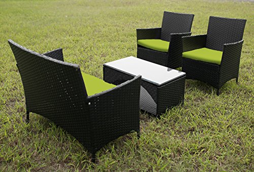 Merax 4 PCS Cushioned Outdoor PE Wicker Patio Set Garden Lawn Rattan Sofa Furniture Conversation Set
