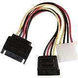Valueline VLCP73555V015 0.15m SATA 15 Pin Male to Molex Female + SATA 15 Pin Female Internal Power Adapter Cable - Multicolour