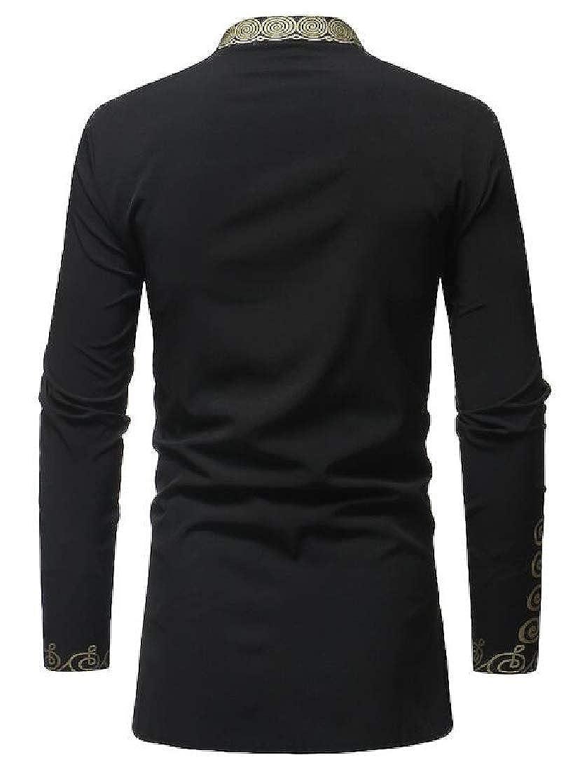 CMCYY Mens Dashiki Folk Style African Long-Sleeve Stand Collar Long Sleeve Shirts