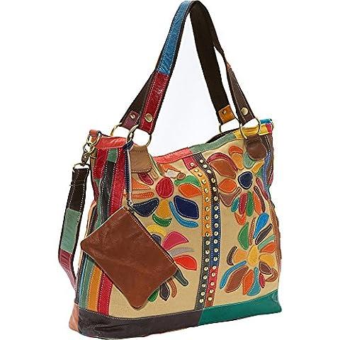 AmeriLeather Rosalie Canvas/Leather Tote (Rainbow) - Lambskin Leather Tote Bag