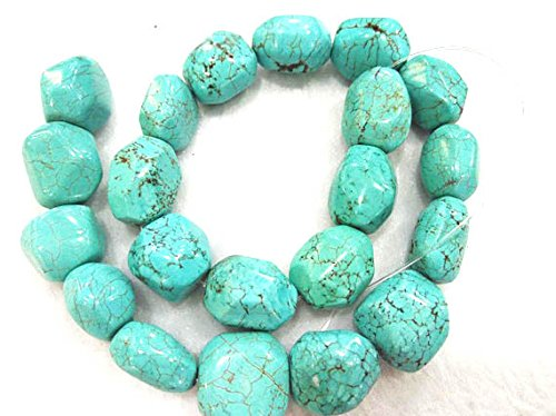 A+ 13X18mm Natural Turquoise Gemstone blue\white Nuggets Freeform Faceted Turquoise Beads Connector necklace