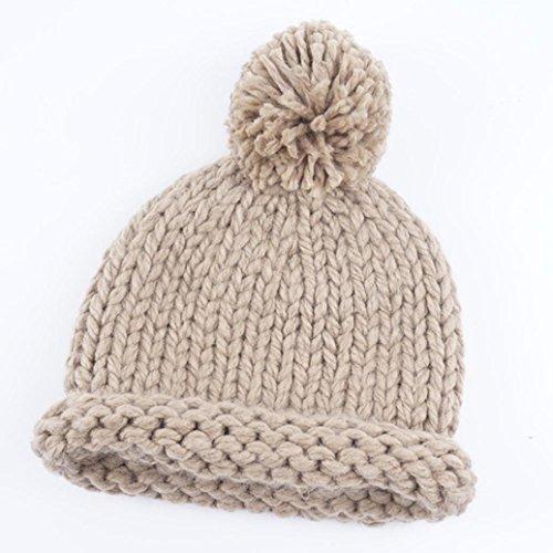 Fheaven Baby Winter Warm Manual Wool Knitted Hat Infant Toddler Kid Crochet Hairball Earmuffs Beanie Cap (Beige)