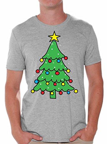 Awkward Styles Christmas Tree Men's Shirt Lit Christmas Tree Tshirt Grey 2XL