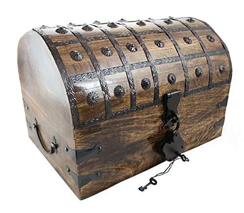 Well Pack Box Pirate Treasure Chest With Iron Lock Skeleton Key X-Large 16 x 11 x11 Decorative Storage