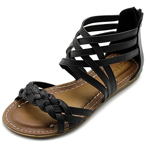 Ollio Women's Shoe Gladiator Strappy Zip Closure Multi Color Sandal M1803(9 B(M) US, Black) ()