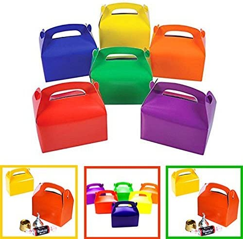 Adorox (6 x 3.5 x 3.25, Assorted 24Pk) Large Lightweight Assorted Bright Rainbow Colors Cardboard Favor Boxes Treat Goody Bags Birthday Party Event ...