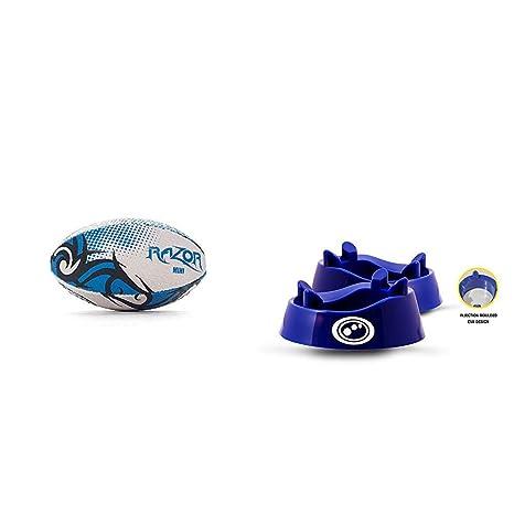 Optimum Razor Rugby Ball Blue One Size Black//Blue Mini with Optimum Rugby Standard Kicking Tee