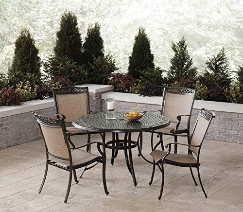 Hanover Fontana 5-Piece Dining Set with 4 Sling Chairs and a 48-in. Cast-Top Table, FNTDN5PCC Outdoor Furniture, Tan (Sling Furniture Aluminum Patio Cast)
