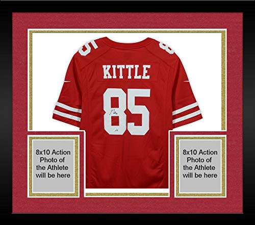 Framed George Kittle San Francisco 49ers Autographed Scarlett Nike Game Jersey - Fanatics Authentic Certified ()