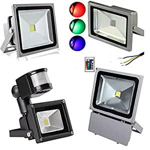 Amazon.com: Cold White, 20W : Outdoor RGB PIR Sensor LED ...