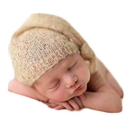 32c071075d4 Amazon.com  Newborn Monthly Baby Photo Prop Boy Girl Photo Shoot Outfits  Crochet Knit Costume Unisex Infant Photography Props Mohair hat (Beige)   Clothing