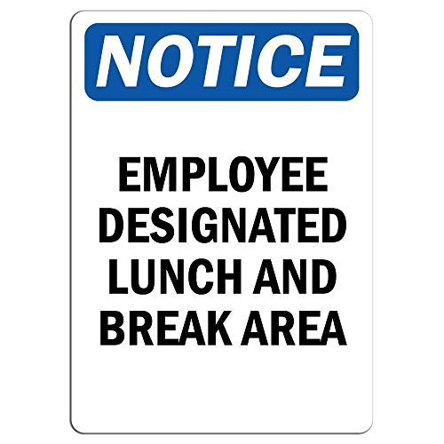 (Employee Designated Lunch and Break Area Sign Metal Funny Warning Signs Private Property Hazard for Home Yard Caution Sign Novelty Gifts Idea 8x12)