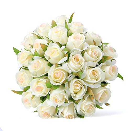 Ivory Rose Bridal Bouquet (Easin Artificial Bridal Bouquets Wedding Rose Bouquet Ivory for Room Home Hotel Party Event Christmas Gift Decoration)