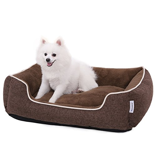 SONGMICS Plush Dog Bed Sofa with Detachable and Machine Washable Cover,Brown UPGW10CC