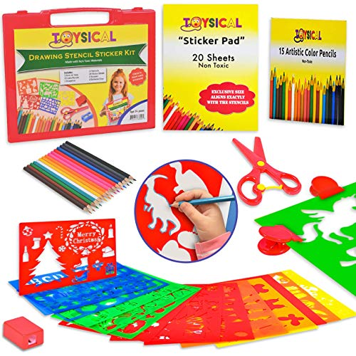 Toysical Kids Stencils Sticker Set for Girls & Boys - 52 Pc Drawing Art N Crafts Set with Clips]()