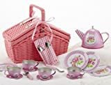 tin tea sets with basket - Delton Products Rose Tin Tea Set in Basket (18 Piece), 4