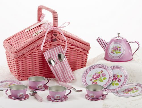 Delton Products Rose Tin Tea Set in Basket (18 Piece), 4