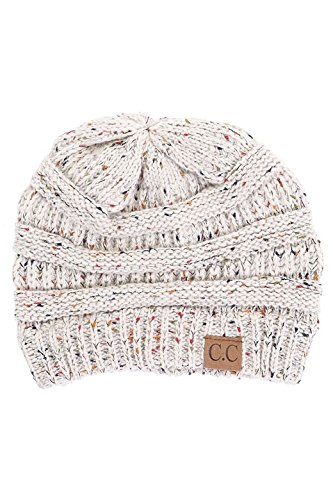 ScarvesMe CC Beanie Cable Knit Confetti Beanie Thick Soft Warm Winter Hat - Unisex (Oatmeal)