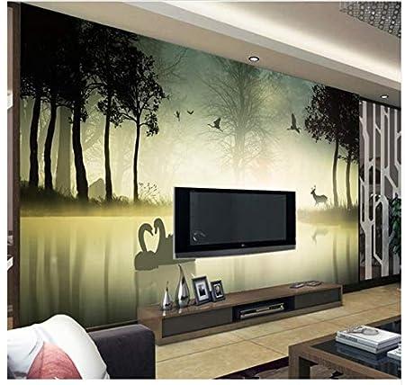 3d Wallpaper Mural Home Decoration Forest Elk Swan Background Modern