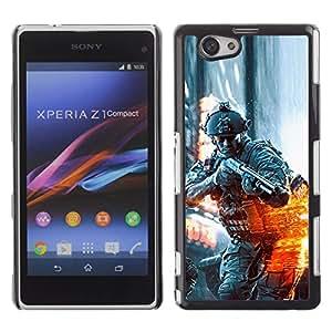 A-type Arte & diseño plástico duro Fundas Cover Cubre Hard Case Cover para Sony Xperia Z1 Compact / Z1 Mini (Not Z1) (Battlefild Soldado)