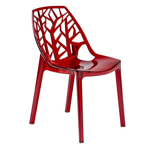 LeisureMod Cut-Out Tree Design Modern Dining Chair in Transparent Red