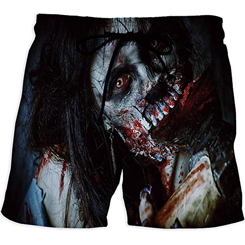 MOOCOM Men's Fitted Casual Shorts and Quick-Drying Sports Pants,Zombie DecorPrinted Quick-Drying Swimming Scary Dead Woman with Bloody Axe Evil Fantasy Gothic Mystery Halloween Picture -