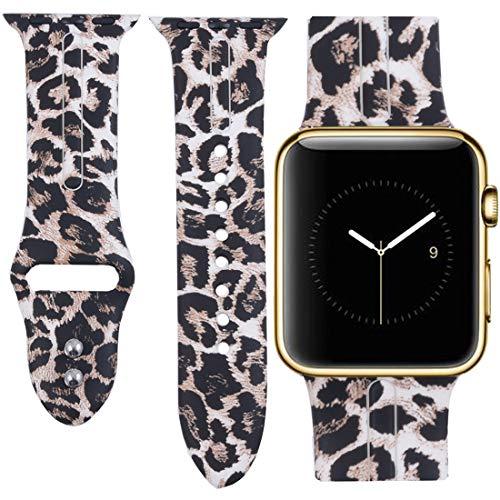 Allbingo Cute Bands for Apple Watch Band 38mm 42mm Women Men (Sexy Leopard, 42mm S/M)