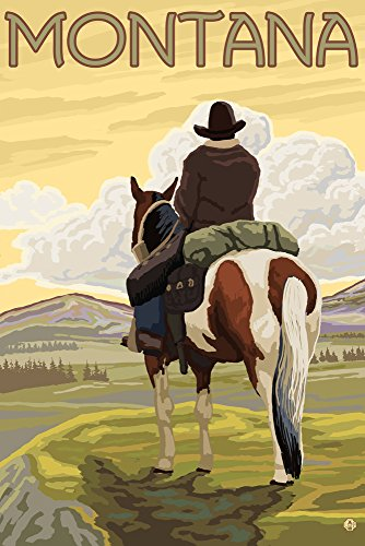 Montana Vintage Travel Poster - Montana - Cowboy and Horse (16x24 Giclee Gallery Print, Wall Decor Travel Poster)