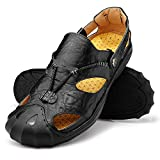 Qiucdzi Men Leather Sports Sandals Summer Outdoor Closed Toe Breathable Walking Beach Sandals/Fisherman Sandals Men US 11.5 Black