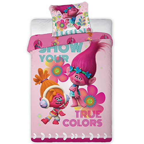 Princess Poppy and DJ Suki Trolls Duvet Cover Set Twin