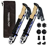 Trekology Trek-Z Trekking Hiking Poles - 2pc Pack Collapsible Folding Walking Sticks, Strong