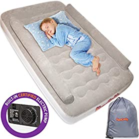 KareCaddy Toddler Air Mattress - Kids AirBed with Built-in Electric Pump, Kids Air Mattress with Sides Rails, Inflatable Toddler Travel Bed with Bumpers, Camping Portable Kids Air Bed 6