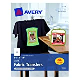 Avery Personal Creations InkJet Iron-On Dark T-Shirt Transfers, White, Five Sheets per Pack (03279), Office Central