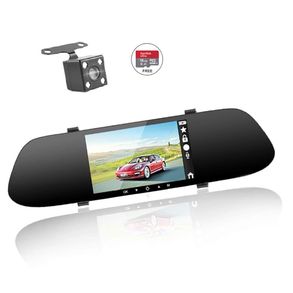 Mirror Dash Cam Mount Dual Lens - Car Camera Video Recorder with 5'' IPS Touch Screen,Front and Rear HD Camera,Reversing Aid,G Sensor,Parking Monitoring Dash Cam Mirror by Plsky (16G Card Included)