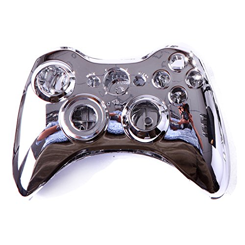 HDE XBOX 360 Wireless Controller Shell Replacement Buttons Thumbsticks Custom Cover Case Kit - Chrome Silver