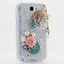 HTC ONE M9 Bling Case, LUXADDICTION Bling Case Cover Faceplate Swarovski Crystals Diamond Sparkle Bedazzled Jeweled Protective Back Snap-On Hard Case For HTC ONE M9 (100% Handmade by LuxAddiction) (Classic Flower with butterfly Phone Charm Design)