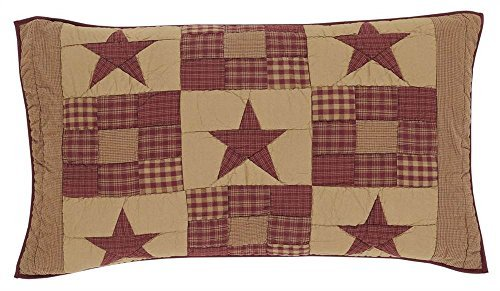 VHC Brands Ninepatch Star King Patchwork Quilted Cotton Sham in Tan ()